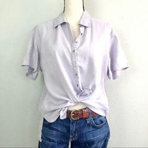 J.Jill Lavender Purple Linen Boxy Button Front Top
